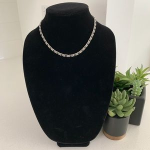 Jewelry - Silver Coiled Rope Chain Black Leather Necklace